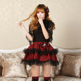 Academic Red Double Layered Tutu Skirt Punk Plaid Mini Skirt for Women