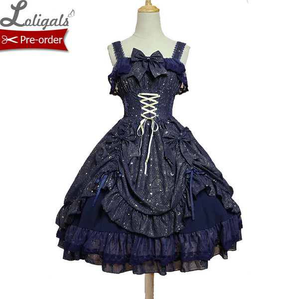 Twinkling Stars ~ Sweet Lolita JSK Dress by Soufflesong Navy Blue Black White Party Dress Vestidos