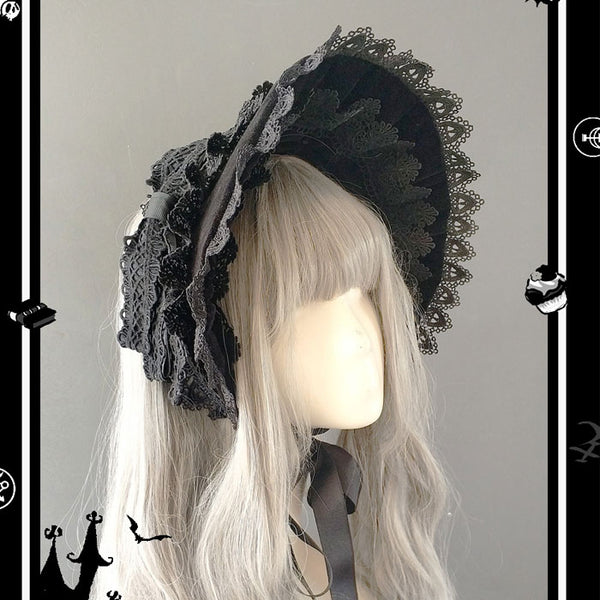 Rose Sanctuary ~ Lolita Retro Lace Trimming Victorian Half-head Bonnet by Infanta