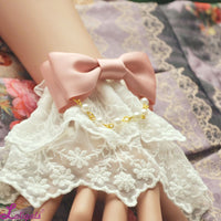 Gorgeous Lolita Bracelet Lace Cuffs with Bow Knot