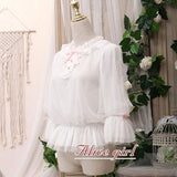 Kitten in the Frame ~ Sweet White Women's Chiffon Blouse White Top by Alice Girl ~ Pre-order