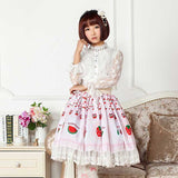 Cute Japanese Cartoon Fruit Printed Sweet Girl's Lolita Skirt with Lace Trims