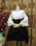 Sweet Mori Girl Chiffon Top Lace Trimmed Flare Sleeve White/Black Lolita Blouse