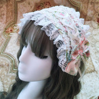 Rococo Style Lolita Headband Sweet Printed Lace up Headpiece