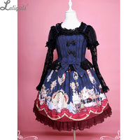 Alice's Tea Party ~ Gothic Lolita JSK Dress Sweet Printed Short Party Dress by Diamond Honey