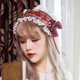 Sweet Lolita Headband Rose & Letter Printed Lace up Hairband