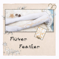 Flower Feather ~ Pantterned Lolita Pantyhose Gothic 120D Women's Tights