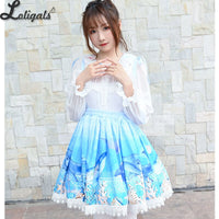 Sweet Whale Printed Short Skirt Mori Girl A line Suspender Skirt