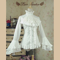 Vintage White/Black High Low Blouse Long Flare Sleeve Ruffled Gothic Victorian Shirt for Women by Lace Garden