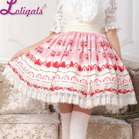 Sweet Pink Lolita Strawberry Printed Lace Pleated Knee Length Skirt for Girl