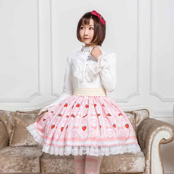 Sweet Strawberry and Heart Printed Short Skirt Cute Mori Girl A line Skirt