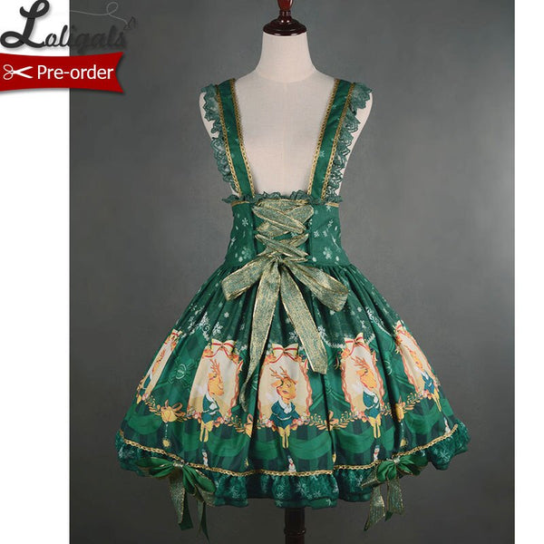 X'mas Deer ~ Lovely Rhinedeer Printed Lolita Jumper Skirt with Straps