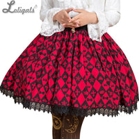 Sweet Deep Red Diamond Checkered Skirt Mori Girl Short Skirt with Lace Trimming