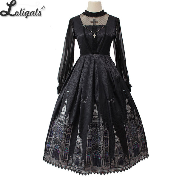 Gothic Lolita JSK Dress Church Printed Sleeveless Midi Party Dress by Alice Girl Pre-order