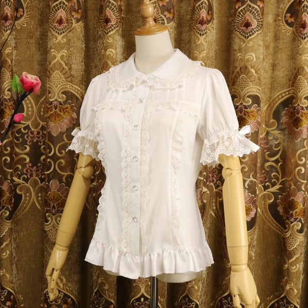 Ladies Short Sleeve Chiffon Blouse White/Black Lolita Button Down Shirt with Detachable Sleeves