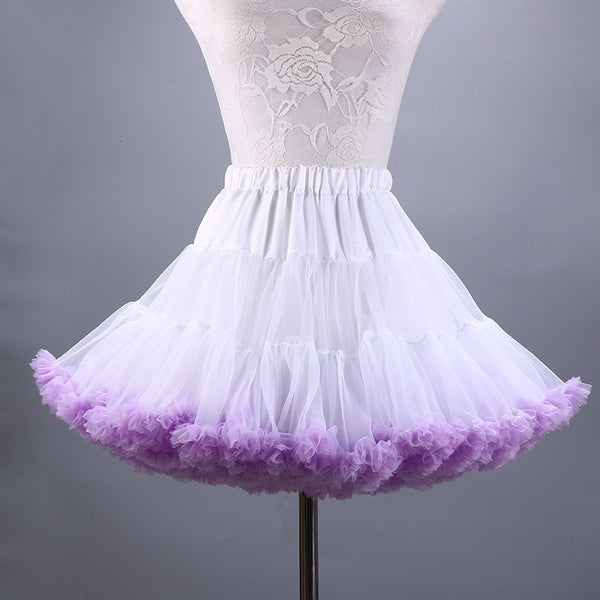 2019 New Adult Short Tulle Pettiskirt Colorful Tutu Skirt Crinoline for Women