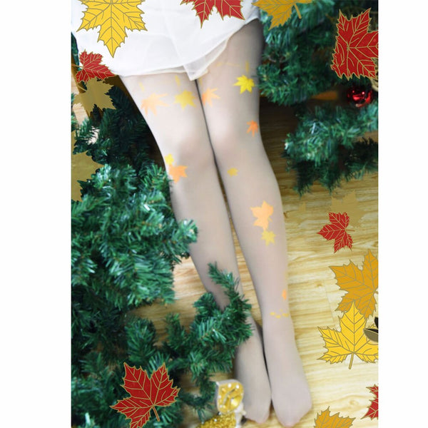 Sweet Maple Leaf Printed Lolita Tights Japanese Style Women's Pantyhose
