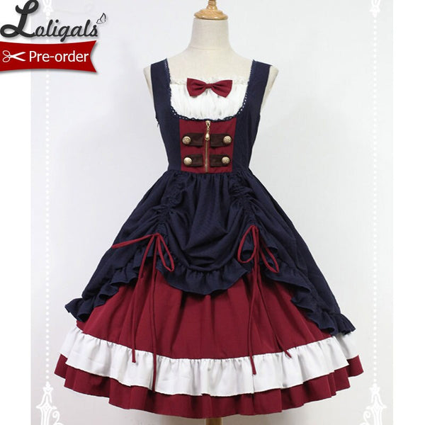 Snow White ~ Classic Black and Red Lolita JSK Dress by Soufflesong