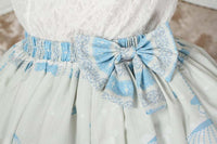 Sweet Lolita Princess Nightingale in Cage Printed Light Sky Blue A line Skirt with Lace Trim and Bow