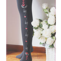 Cute Alice Falling Heart Printed Women's Tights 120D Lolita Pantyhose