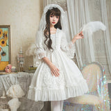 Gorgeous White Wedding Dress Half Bell Sleeve Lolita Party Dress