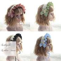 Sweet Ruffled Lolita Bonnet Lace Trimmed Headband