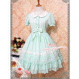 Sweet Short Sleeve Chiffon Summer Dress Cute Peter Pan Collar Lolita OP Dress by Strawberry Witch