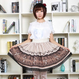 Retro Style Lady's Gothic Lolita Skirt Cross Printed Punk Short Skirt