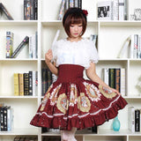 Sweet Mori Girl High Waist Skirt Musha Printed Lolita Short Skirt with Ruffles