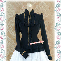 Classic Lolita Top Stand Collar The Song of Isabel Long Sleeve Golden Trimmed Lolita Blouse by Stawberry Witch