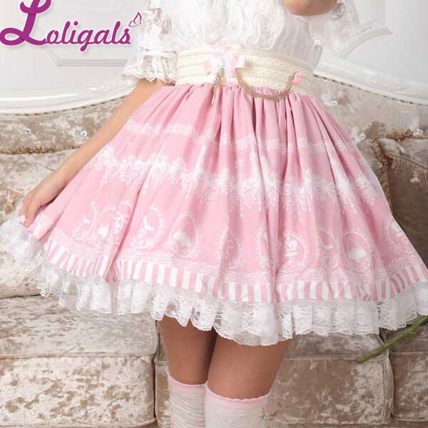Sweet Pink Lolita Crystal Chandelier Printed A Line Skirt for Lady