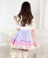 Sweet Ombre Pink Unicorn Printed Lace Lady's Lolita Skirt
