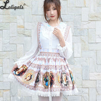 Harajuku Baroque Printed Short Skirt Mori Girl A line Suspender Skirt