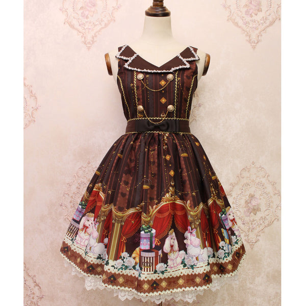 Gift Box of Poodle ~ Sweet Lolita Casual Dress Printed Sleeveless Dress by Alice Girl ~ Pre-order