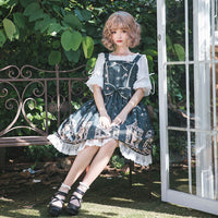 The Night Stars Fall ~ Retro Style Lolita Dress Printed Casual Midi Party Dress