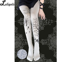 2019 Halloween Lolita Tights Gothic Patterned Women's Pantyhose 120D Velvet Tights