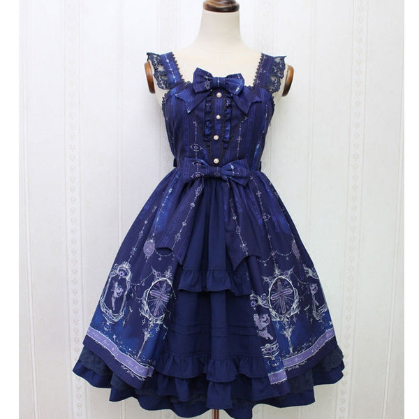 Angel and Cross ~ Sweet Printed Casual Lolita Dress Mori Girl Sleeveless Short Dress by Alice Girl