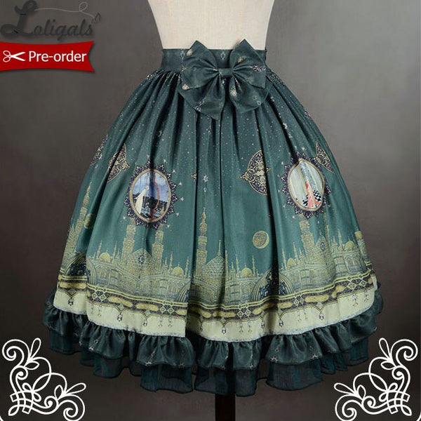 Mystery Arabian Night ~ Printed Lolita Skirt with Detachable Bow