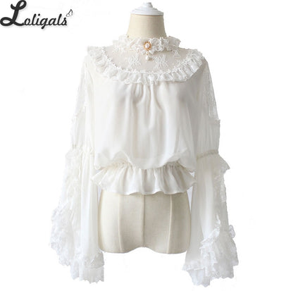 06565521386e32 Gothic Victorian Style Women's Chiffon Top Sheer Ruffle Neck Flare Sleeve  Black/White Lolita Blouse by Alice Girl