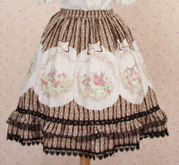 Lolita Sweet Princess Striped Easter Bunny and Eggs Printed Skirt with Layered Ruffles