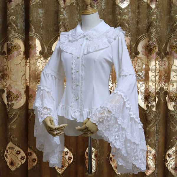 Retro Victorian Chiffon Blouse Long Flare Sleeve Ruffled White/Black Lolita Shirt