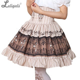 Sweet Mori Girl High Waist Skirt Crown Printed Lolita Short Skirt with Ruffles