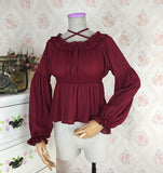 Sweet Long Lantern Sleeve Chiffon Blouse Autumn Women's Off the Shoulder Top