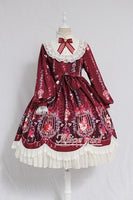 Cage in Dream ~ Sweet Long Sleeve Lolita Dress Printed Vintage Midi Party Dress by Alice Girl ~ Pre-order