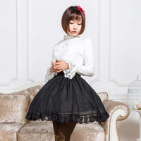 Beautiful Black Bling Bling Glittering Short Skirt Mori Girl Mini Skirt with Lace Trimming