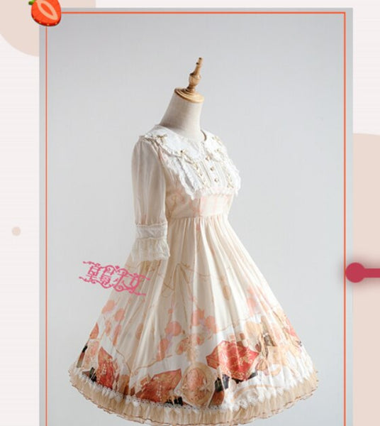 Sweet Half Sleeve Lolita OP Dress Chess and Clock Printed Women's Dress by Strawberry Witch