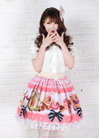 Sweet Pink Afternoon Tea Party Lovely Printed Lace Lolita Short Skirt with Bow for Girl