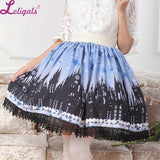 Lolita Blue and Back Gothic Church Printed Lace Lady's Elastic Waist Skirt