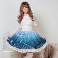 The Spirit of Night Sweet Lolita Floral and Angel Printed Pleated Lace Skirt with Ruffles
