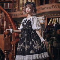 Jewel & Chandelier ~ Retro Style Casual Lolita Dress Sweet Sleeveless Midi Party Dress